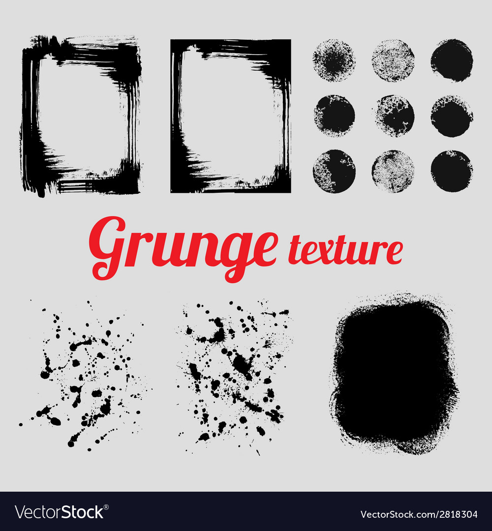 Grunge texture set frames splatter textures smear vector | Price: 1 Credit (USD $1)