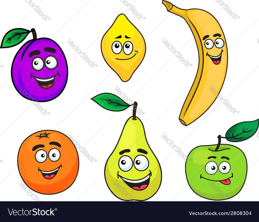 Happy smiling cartoon fruits set vector | Price: 1 Credit (USD $1)