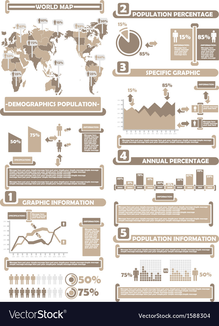 Infographic demographics world percentage brown vector | Price: 1 Credit (USD $1)