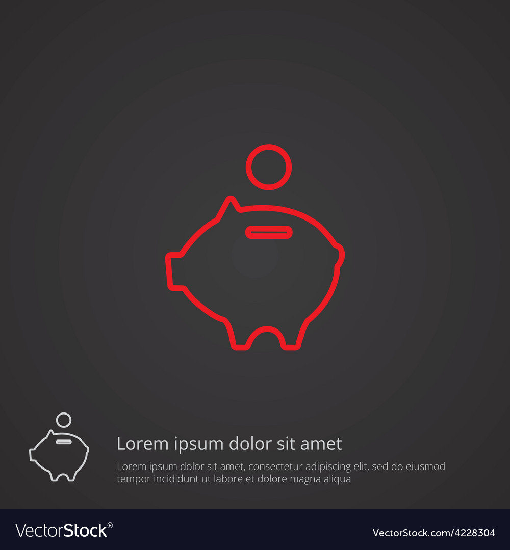 Moneybox piggy outline symbol red on dark vector | Price: 1 Credit (USD $1)