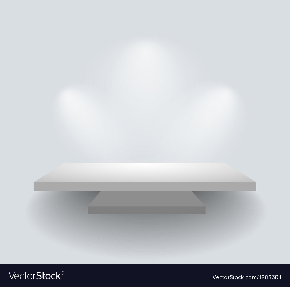 Shelf on white wall with spotlights vector | Price: 1 Credit (USD $1)