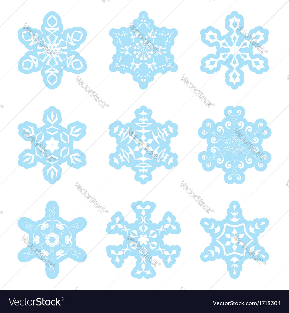 Snowflakes - blue and white - set vector | Price: 1 Credit (USD $1)