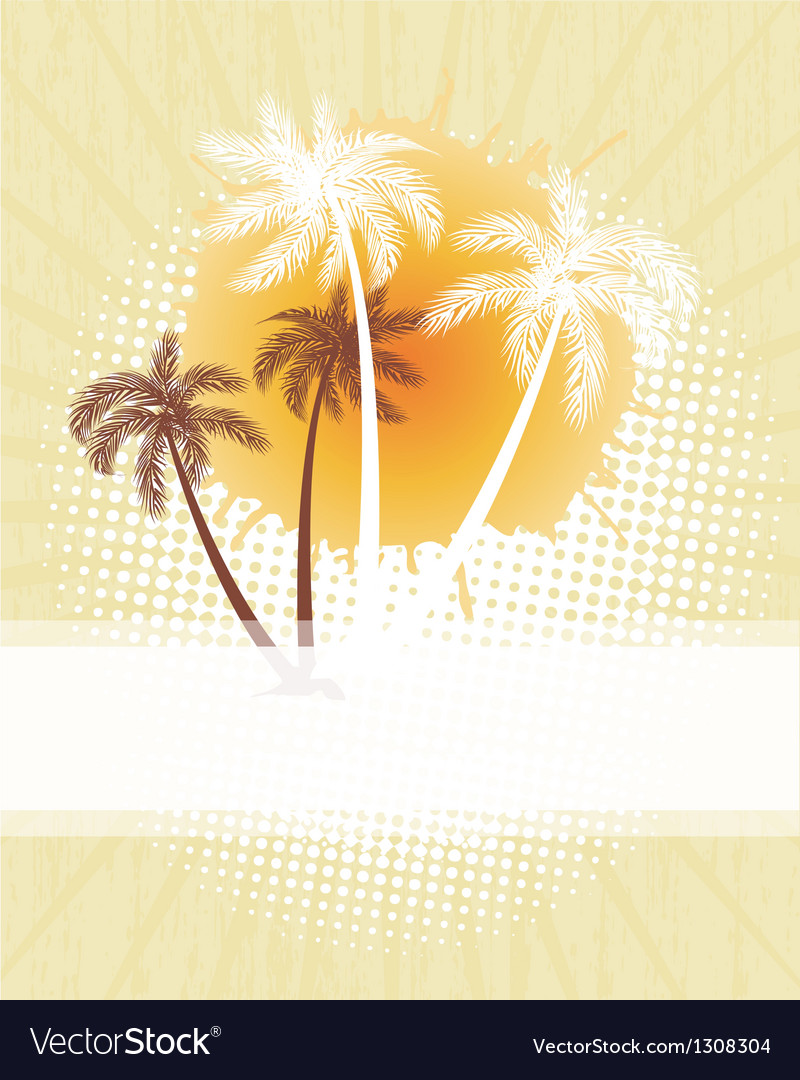 Summer background with grunge beach palms vector | Price: 1 Credit (USD $1)