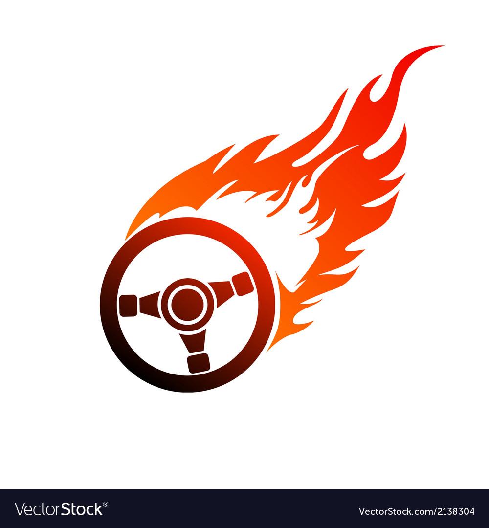 Symbol burning automobile steering vector | Price: 1 Credit (USD $1)