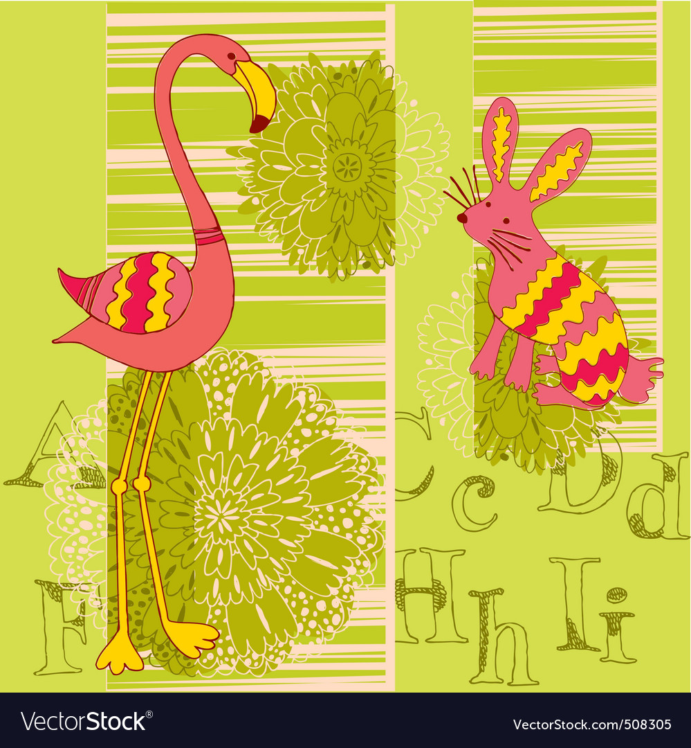 Flamingo and rabbit vector | Price: 1 Credit (USD $1)