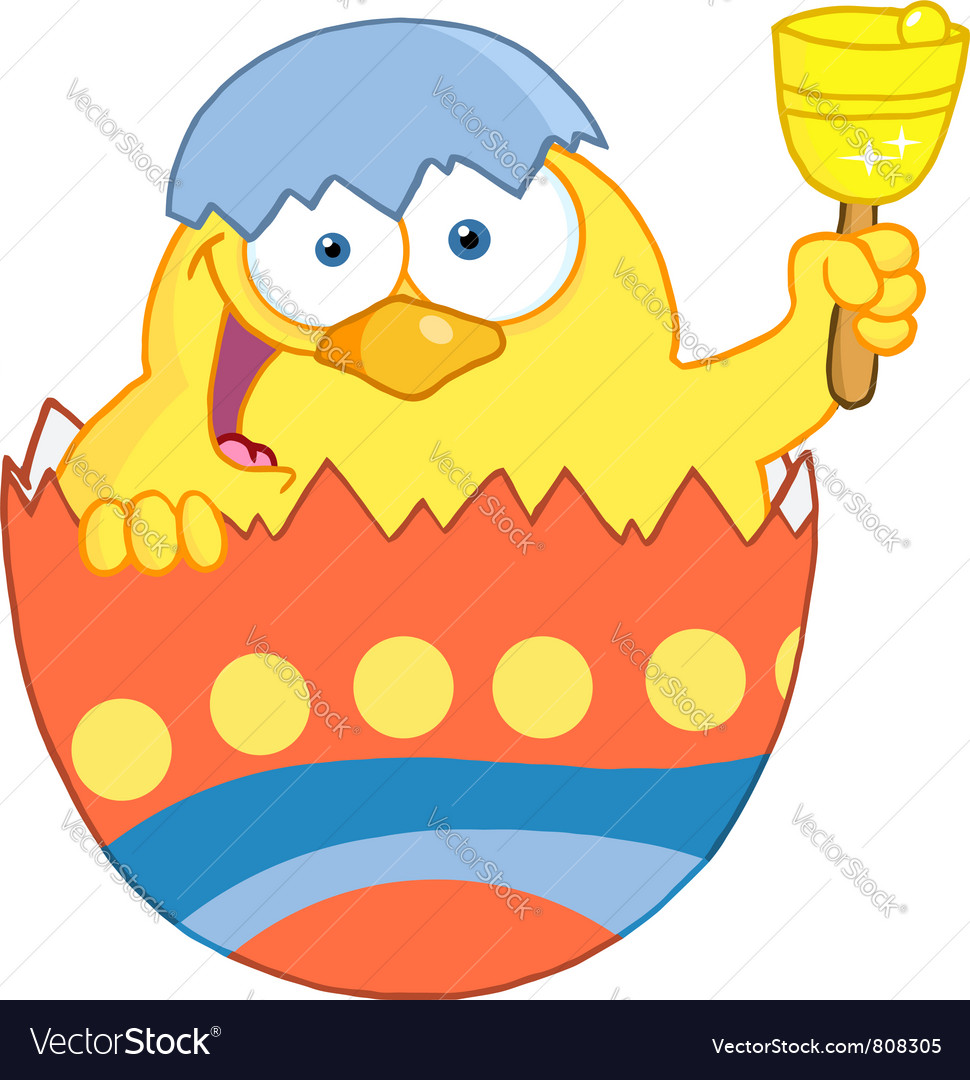 Happy yellow chick peeking out of an easter egg vector | Price: 1 Credit (USD $1)