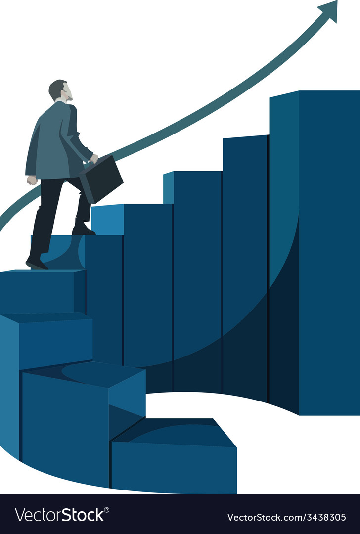 Male businessman with briefcase climbing stairs vector | Price: 1 Credit (USD $1)