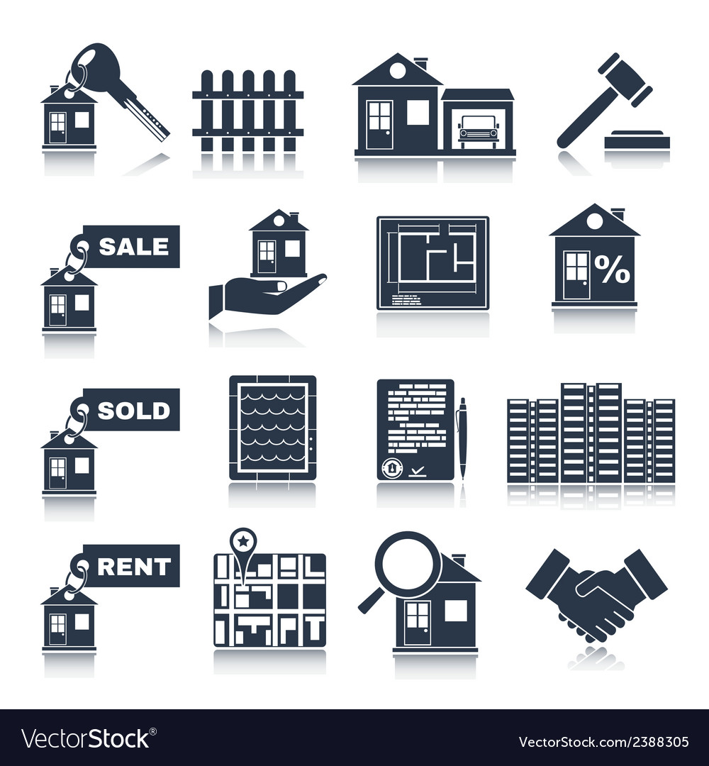 Real estate black icons vector | Price: 1 Credit (USD $1)