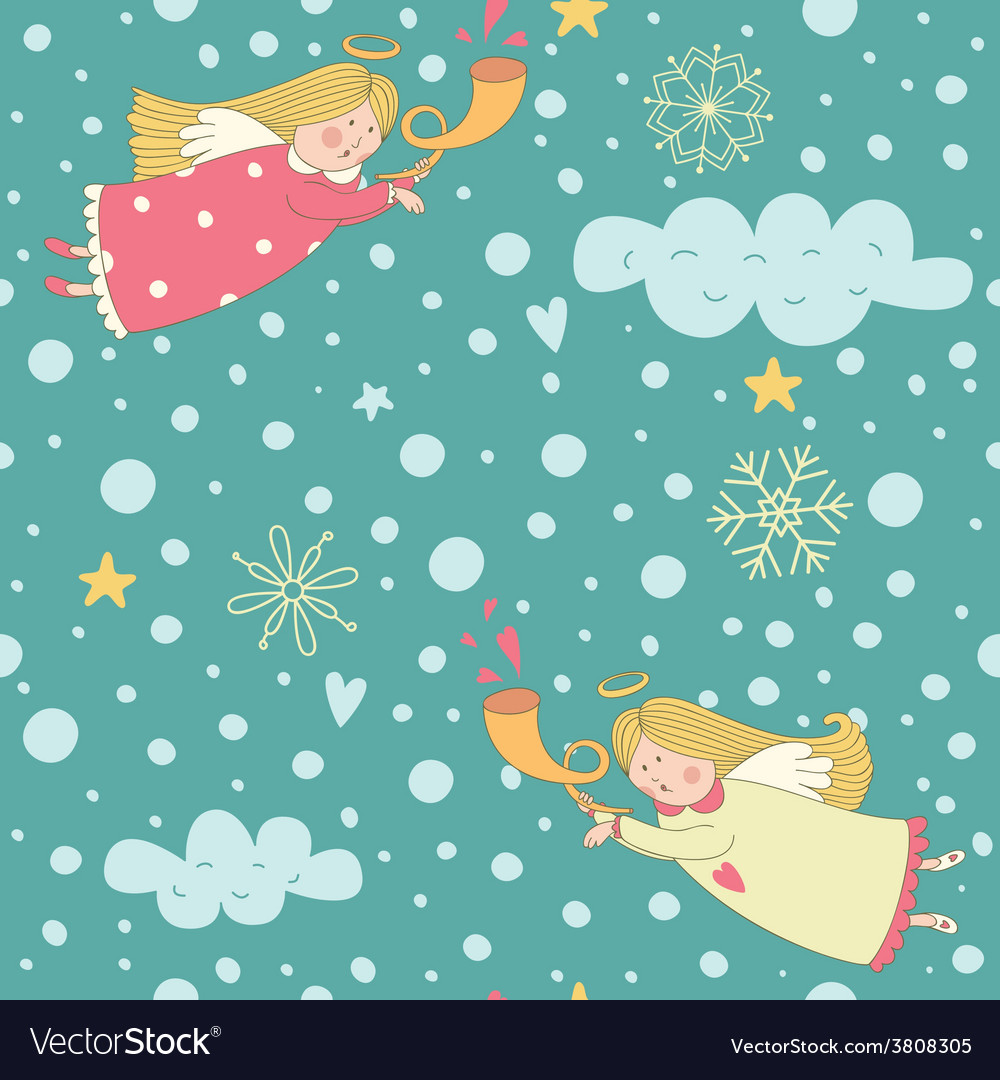 Seamless pattern with christmas angels vector | Price: 1 Credit (USD $1)