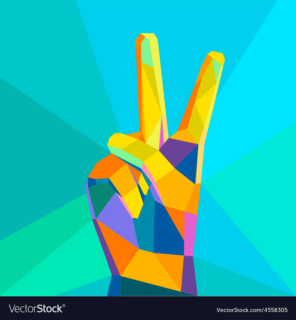 Victory hand geometrical style vector   Price: 1 Credit (USD $1)