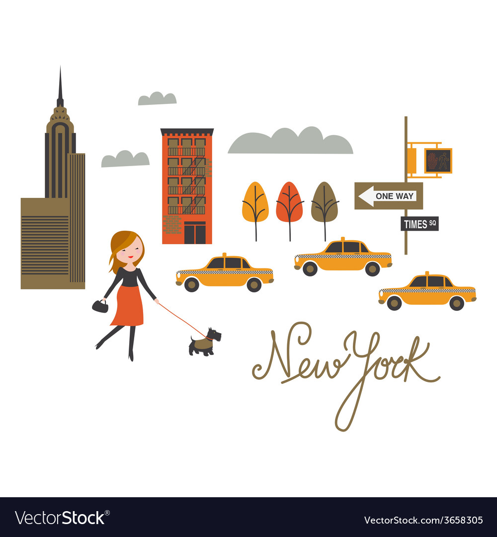 Walk around new york city vector | Price: 1 Credit (USD $1)