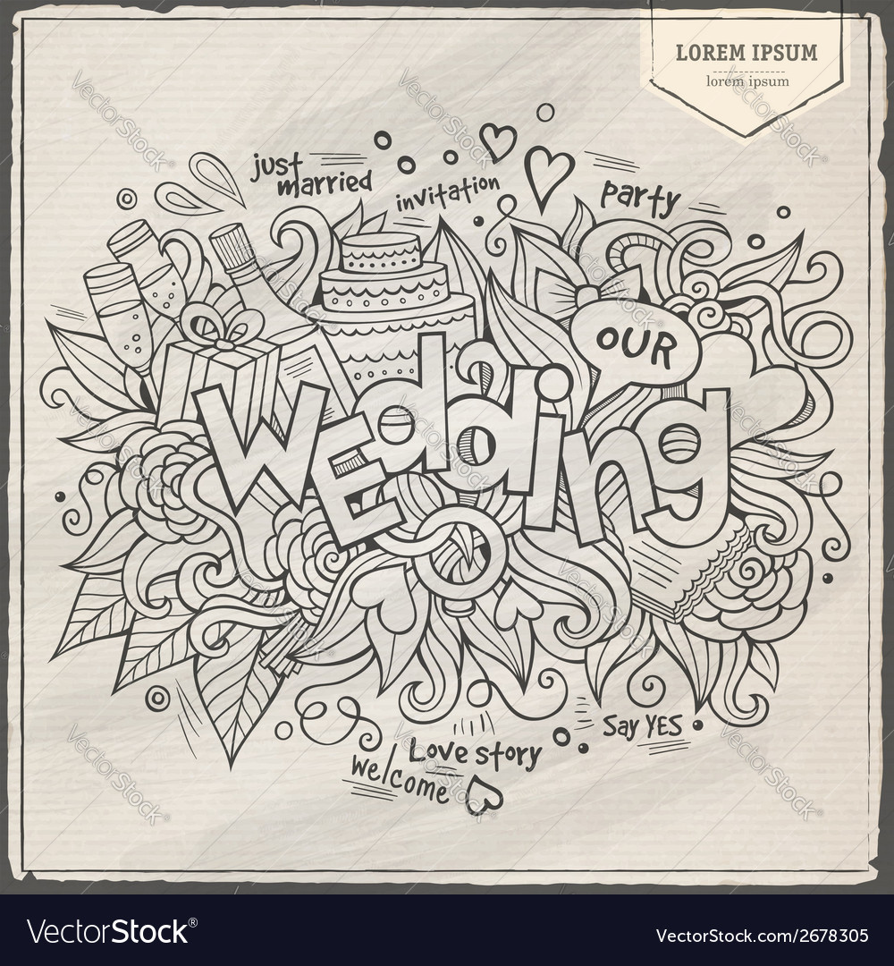 Wedding hand lettering and doodles elements vector | Price: 1 Credit (USD $1)