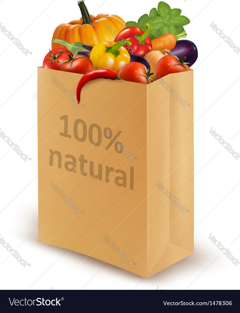 100 percent natural on a paper bag full of fresh vector | Price: 1 Credit (USD $1)