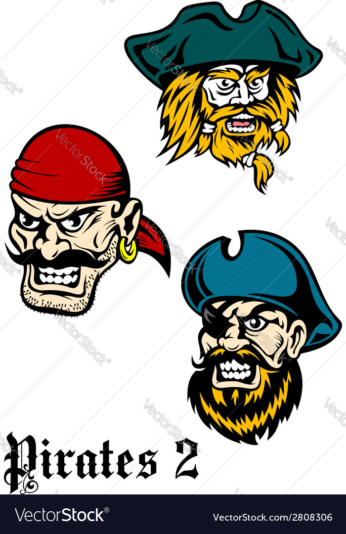Cartoon brutal pirate captains set vector | Price: 1 Credit (USD $1)