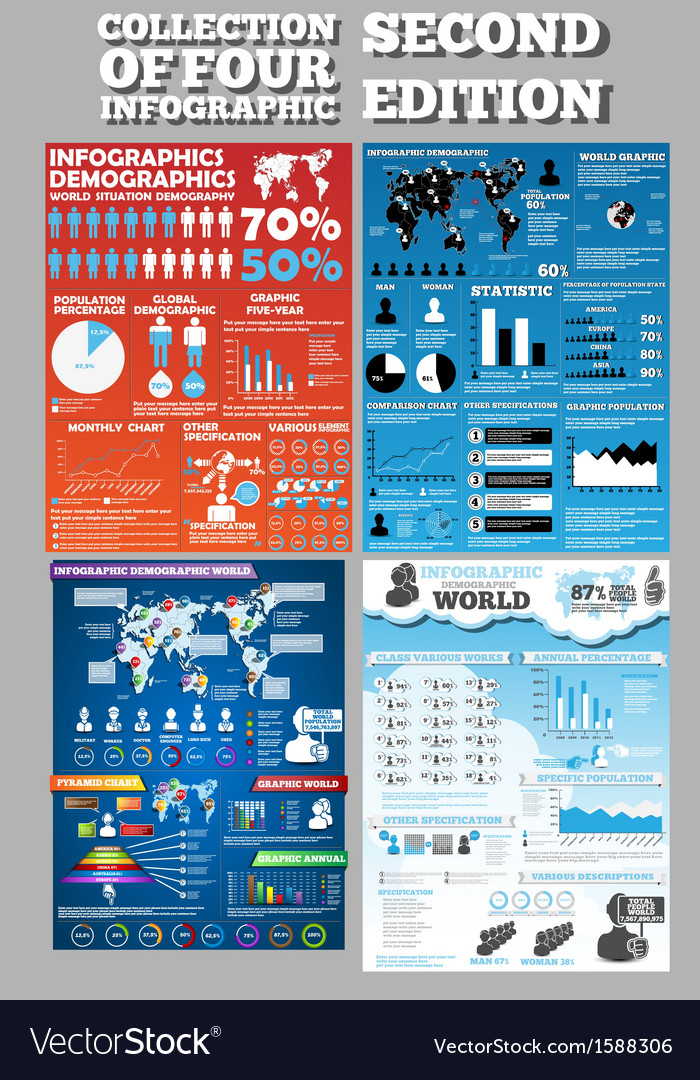 Collection of four infographics second edition vector | Price: 1 Credit (USD $1)