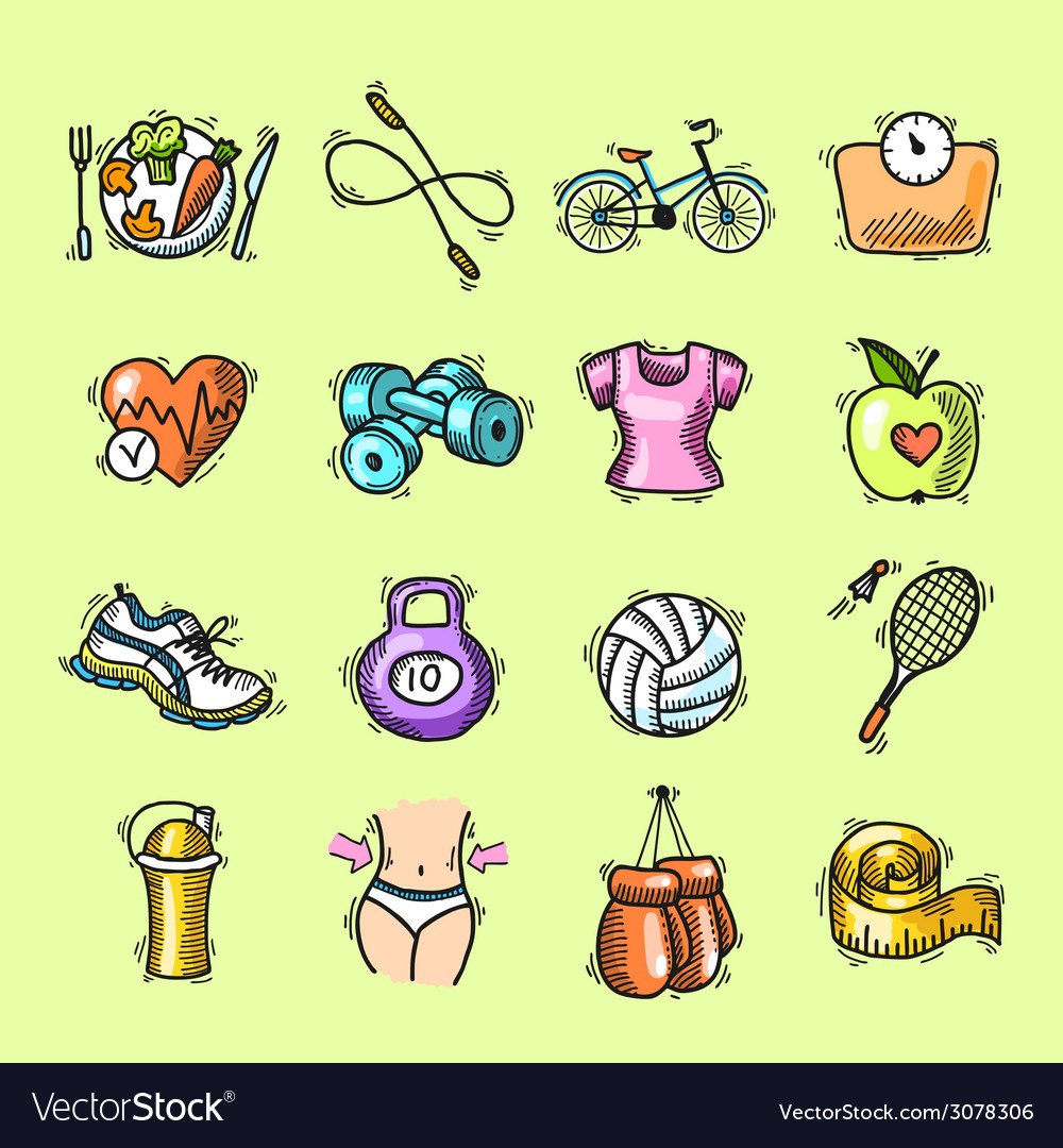 Fitness sketch colored icons set vector   Price: 1 Credit (USD $1)