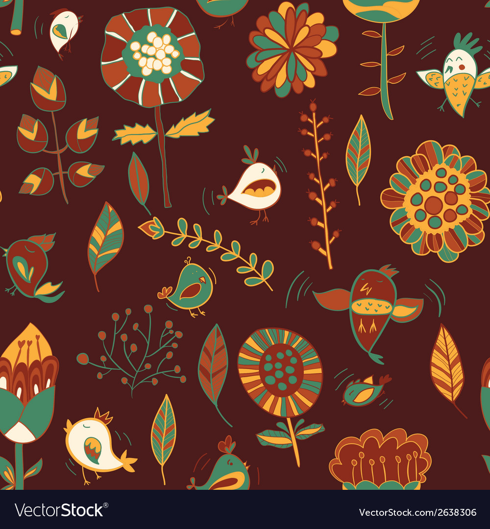 Flower and bird seamless texture vector | Price: 1 Credit (USD $1)