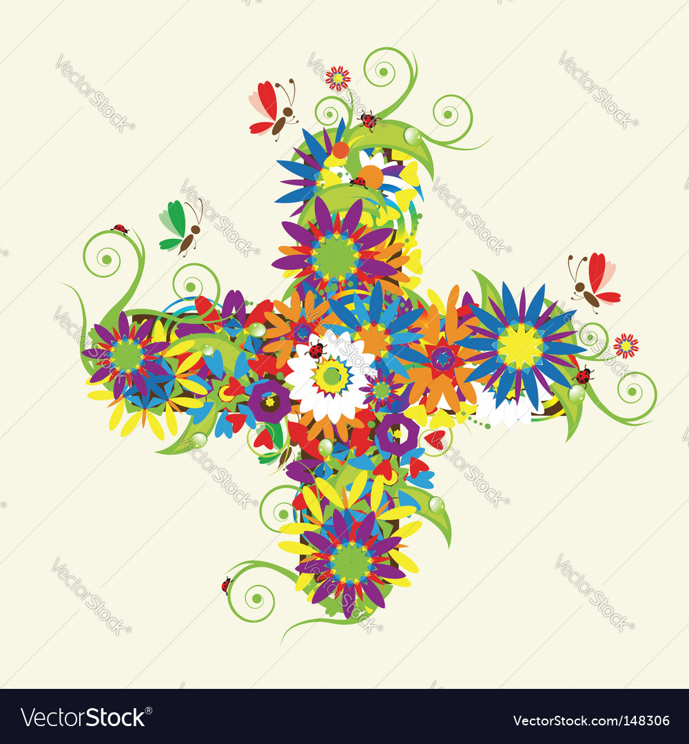 Plus sign floral design vector | Price: 1 Credit (USD $1)