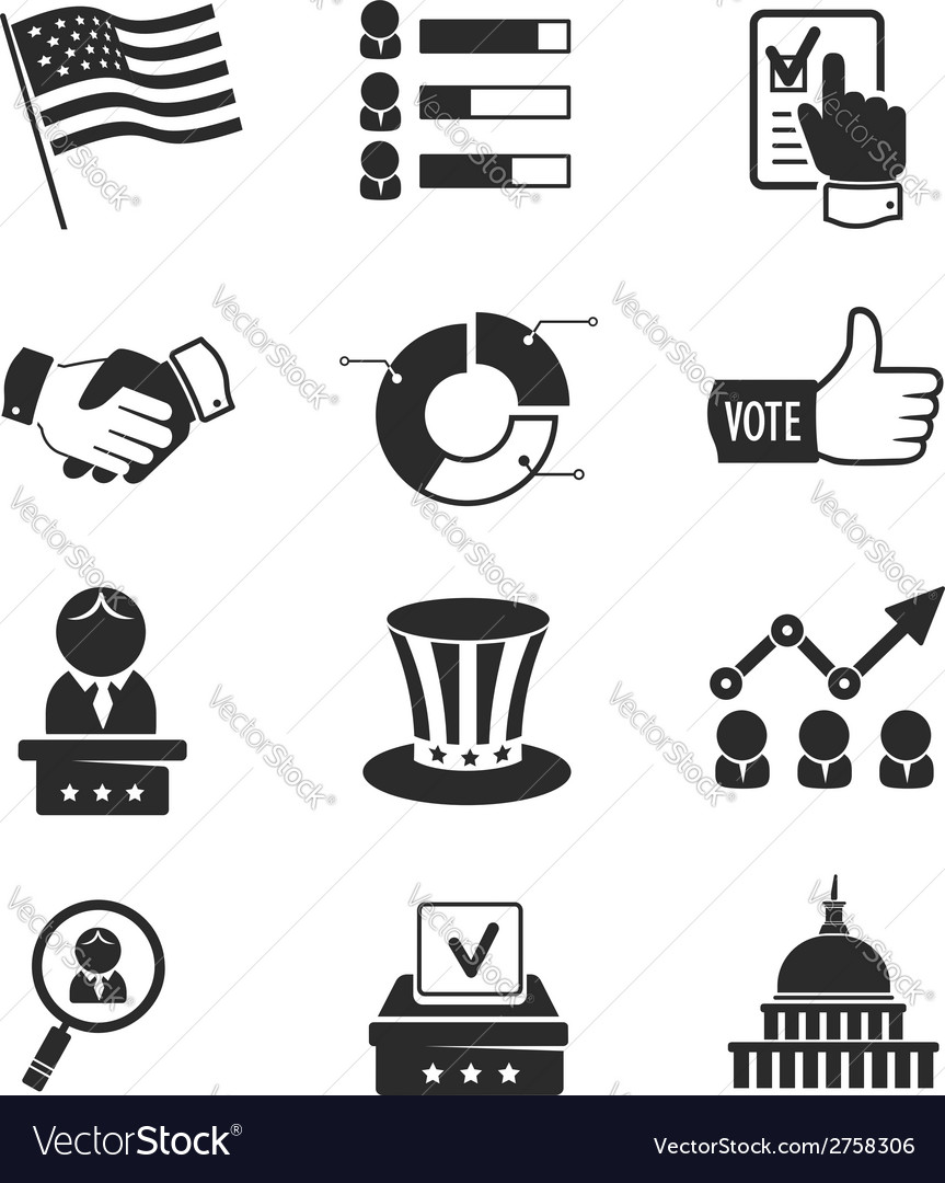 Voting and elections icon set vector | Price:  Credit (USD $)