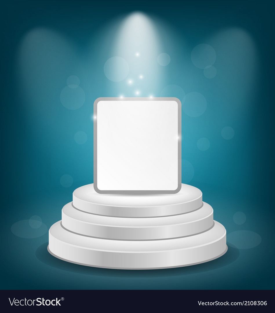 White podium with banner for presentation vector | Price: 1 Credit (USD $1)