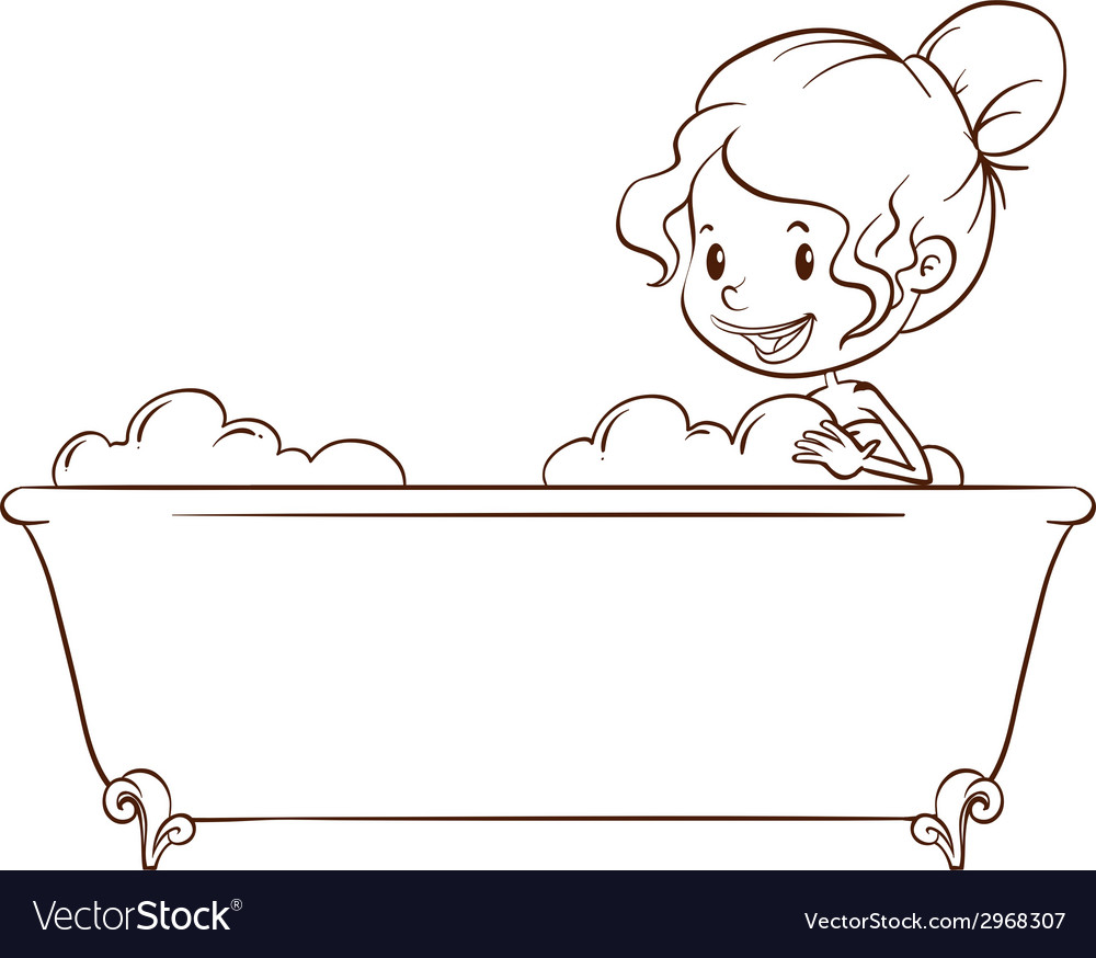 A simple sketch of a girl at the bathtub vector | Price: 1 Credit (USD $1)