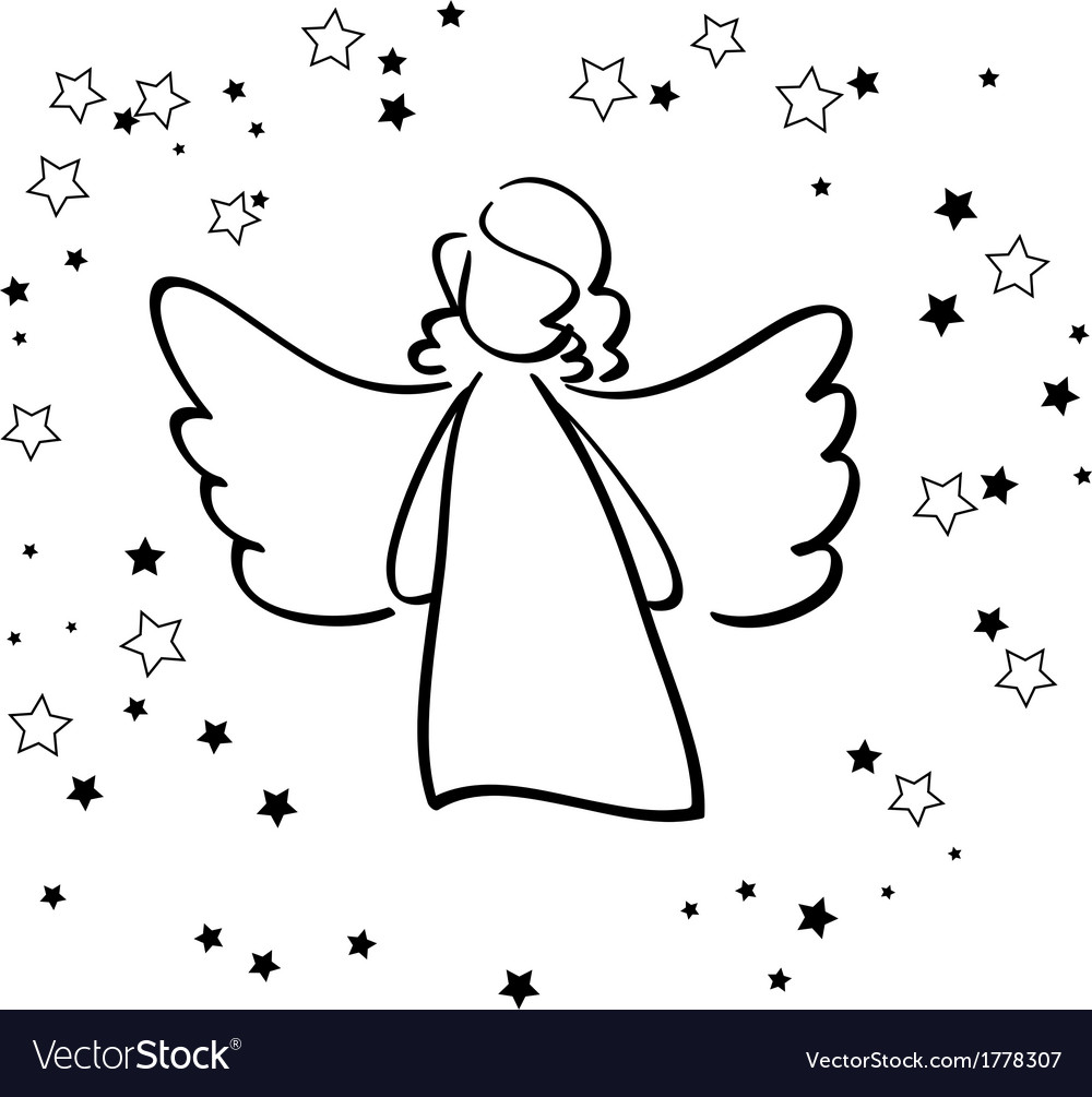Angel and stars vector | Price: 1 Credit (USD $1)