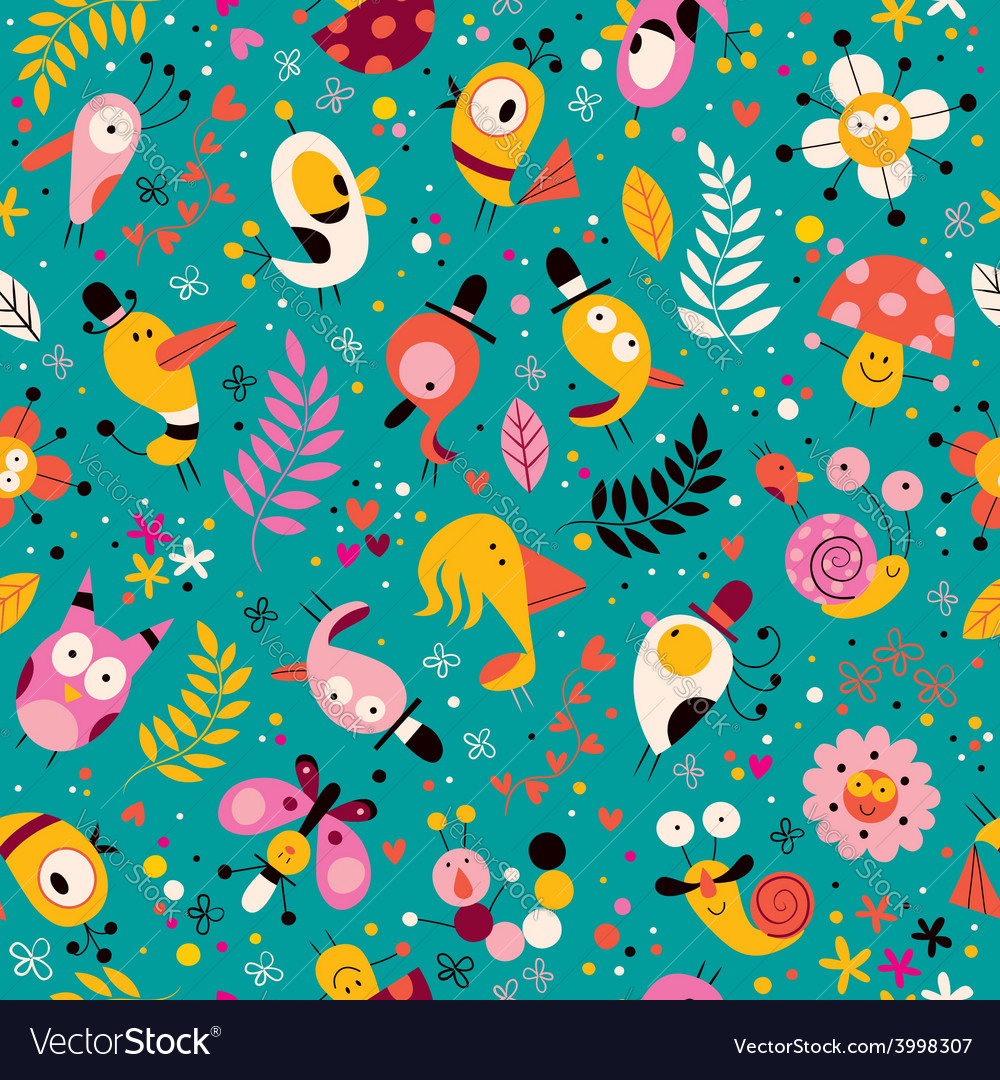 Cute characters nature pattern vector | Price: 1 Credit (USD $1)