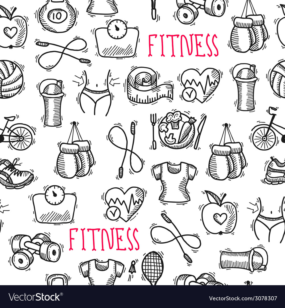 Fitness sketch black and white seamless pattern vector | Price: 1 Credit (USD $1)