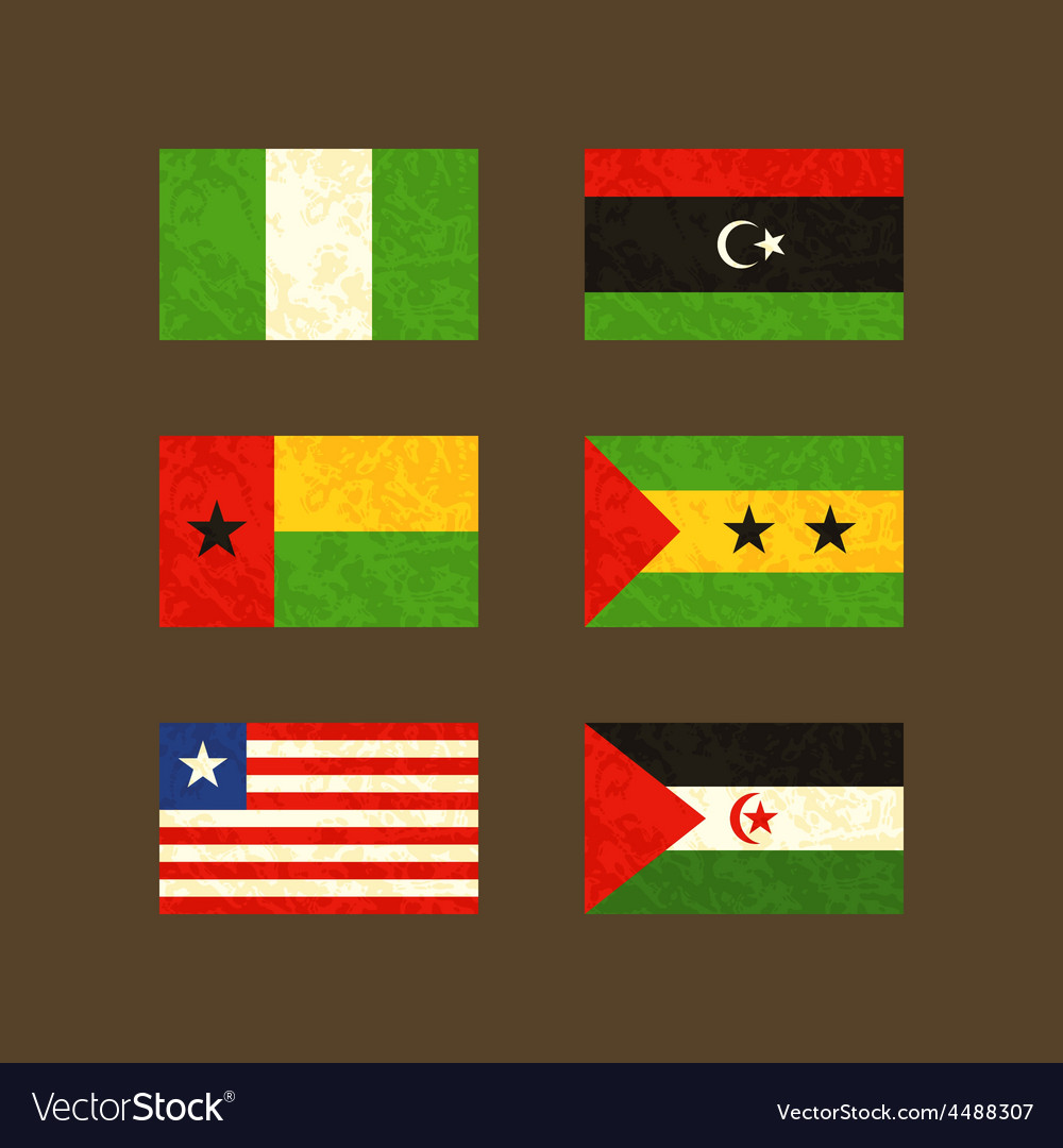 Flags of nigeria libya guinea-bissau sao tome vector | Price: 1 Credit (USD $1)