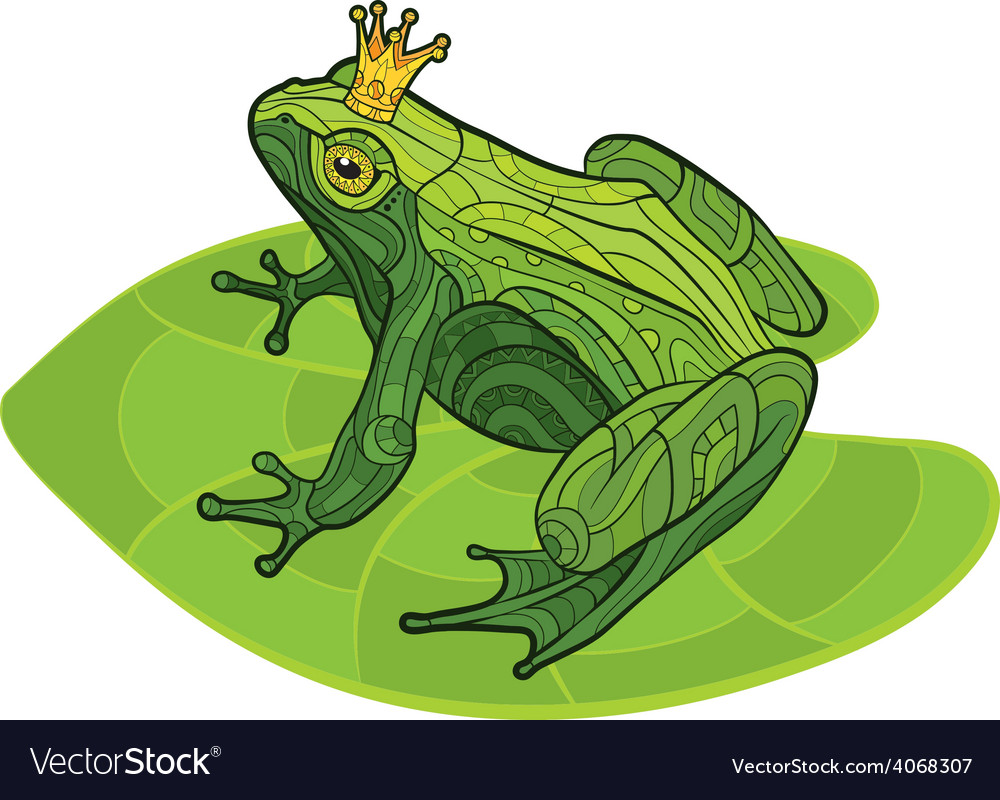 Frog with crown on the leaf vector | Price: 1 Credit (USD $1)