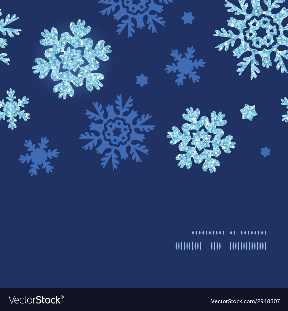 Glitter snowflakes dark horizontal frame seamless vector | Price: 1 Credit (USD $1)