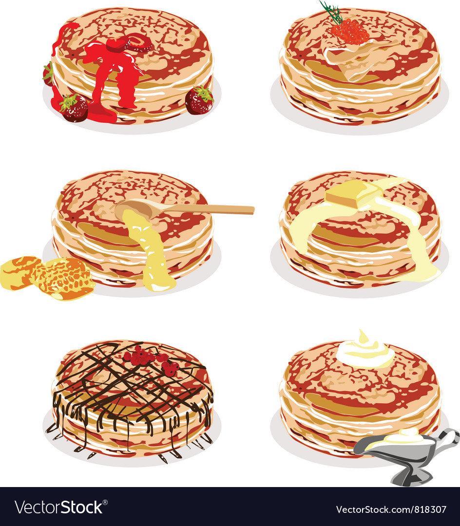 Pancakes with different fillings vector | Price: 1 Credit (USD $1)