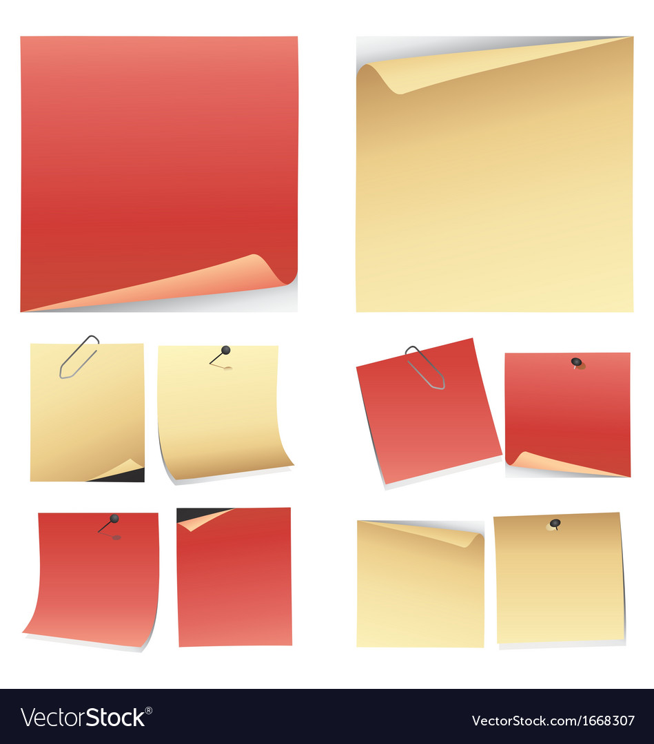 Set of colorful note paper vector | Price: 1 Credit (USD $1)