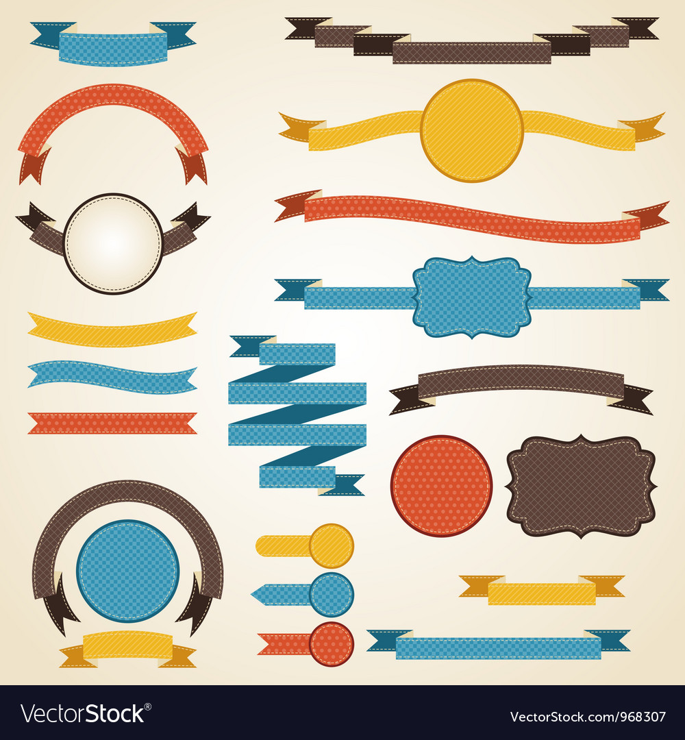Set of retro ribbons and labels vector | Price: 1 Credit (USD $1)
