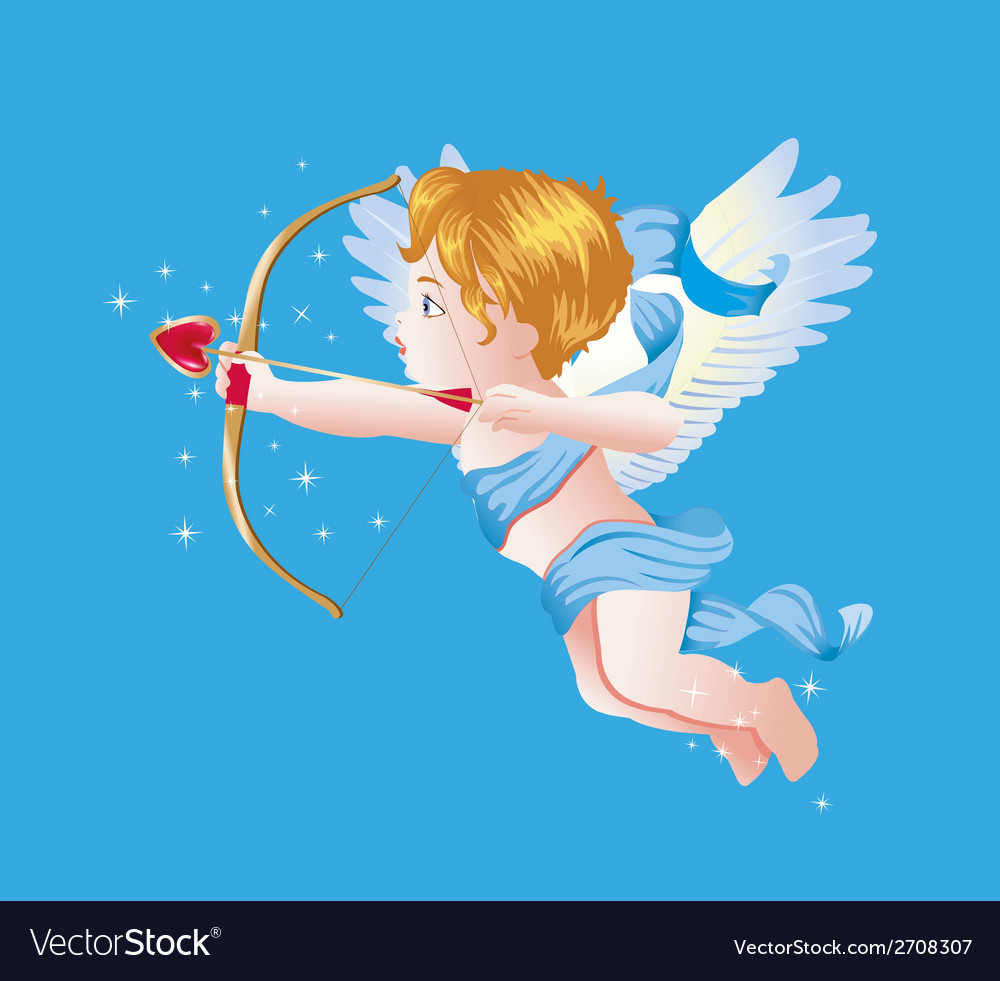 Valentine day cupid on blue vector | Price: 1 Credit (USD $1)