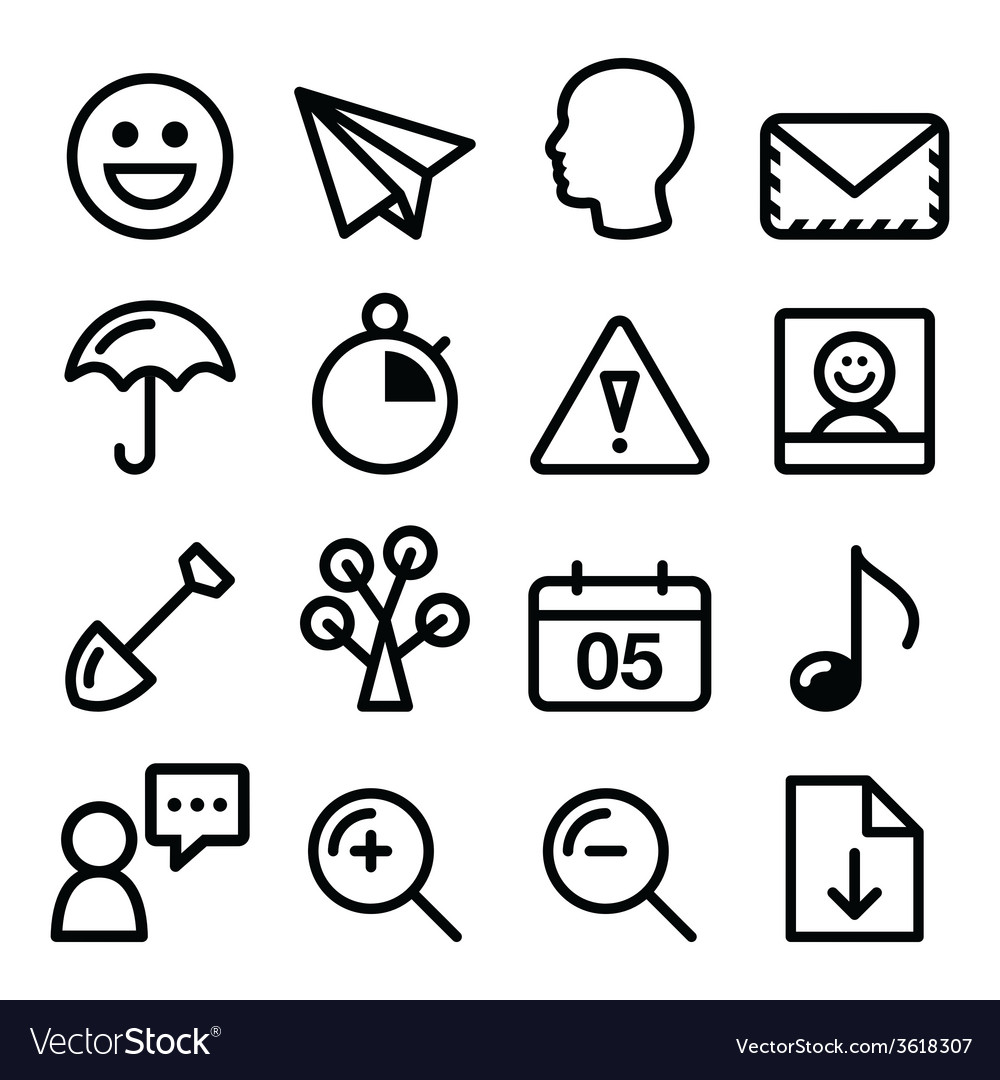 Website navigation menu black line stroke icons vector | Price: 1 Credit (USD $1)
