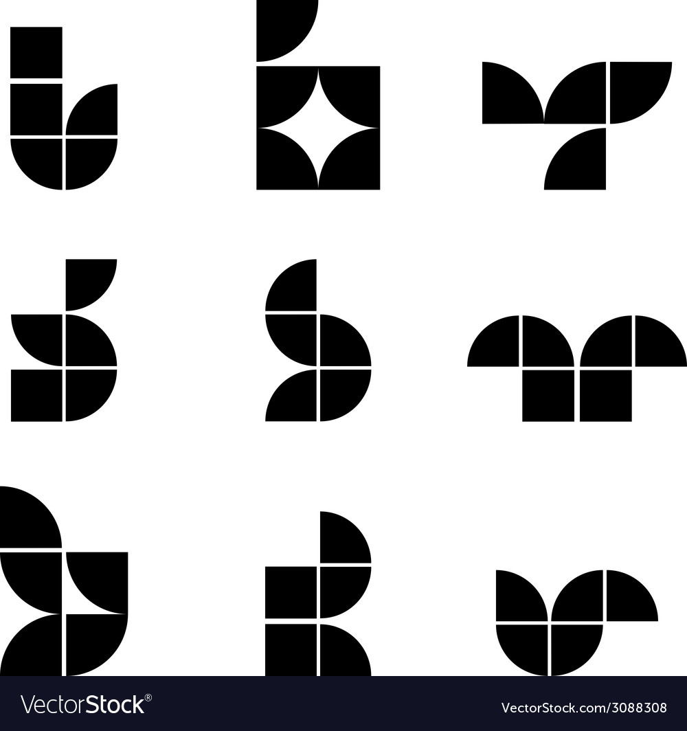 Abstract geometric simplistic icons set symbols vector | Price: 1 Credit (USD $1)