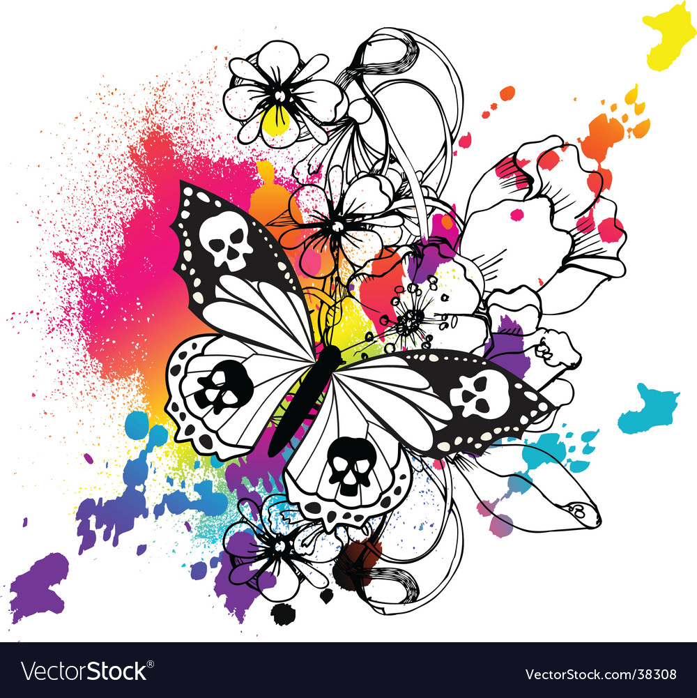 Butterfly tattoo graphic vector | Price: 3 Credit (USD $3)
