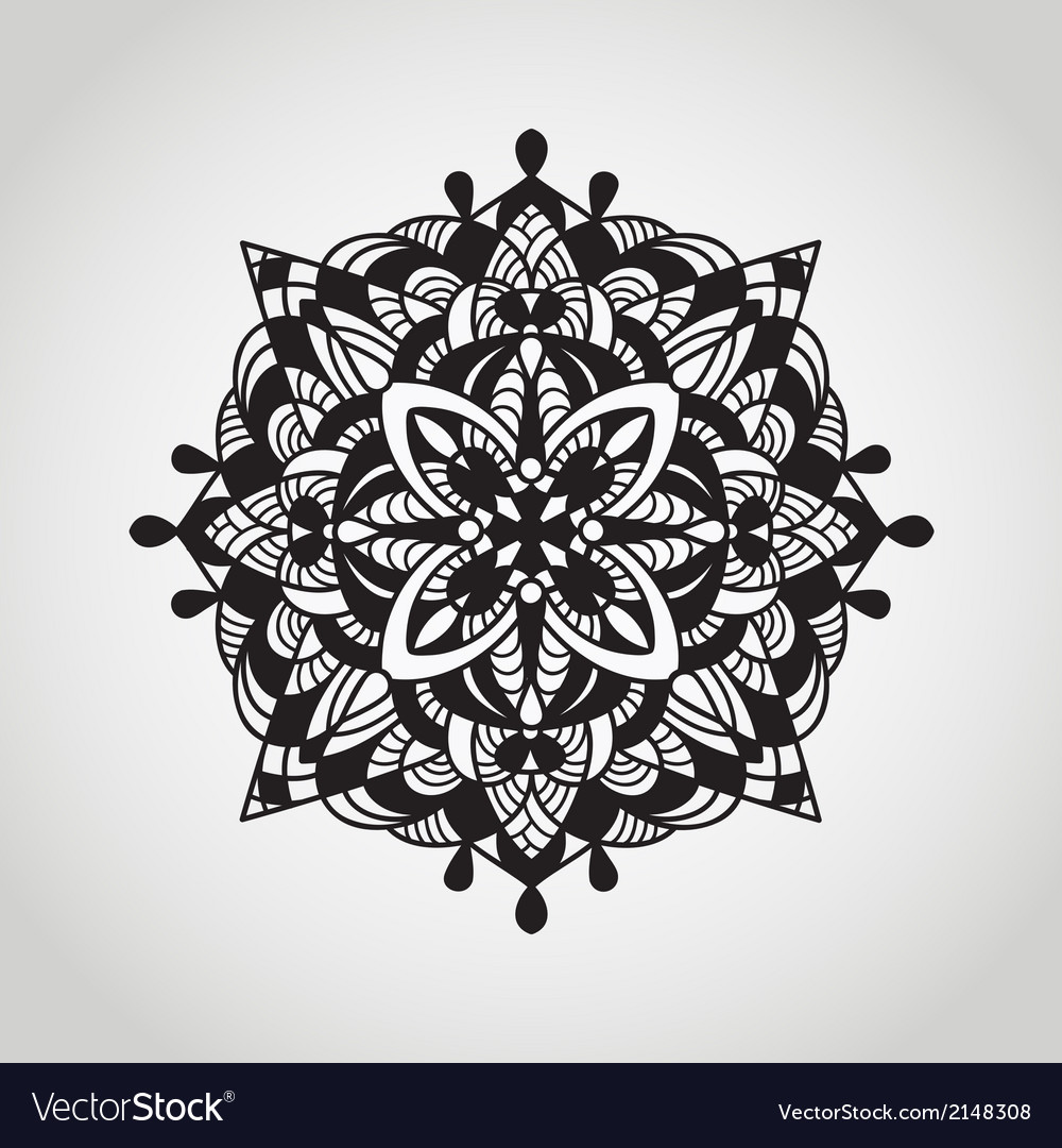Circle pattern mandala doodle style vector | Price: 1 Credit (USD $1)