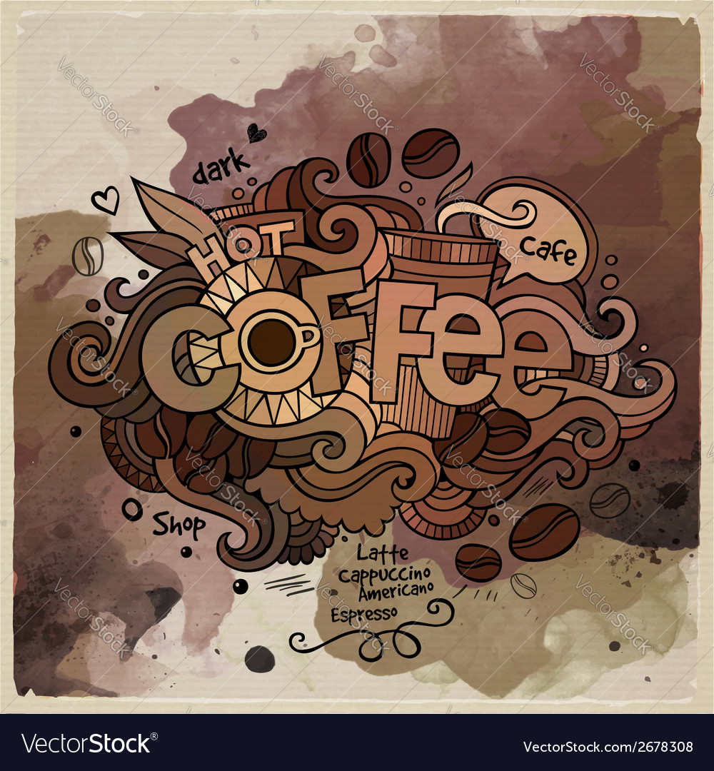 Coffee watercolor cartoon hand lettering and vector | Price: 1 Credit (USD $1)