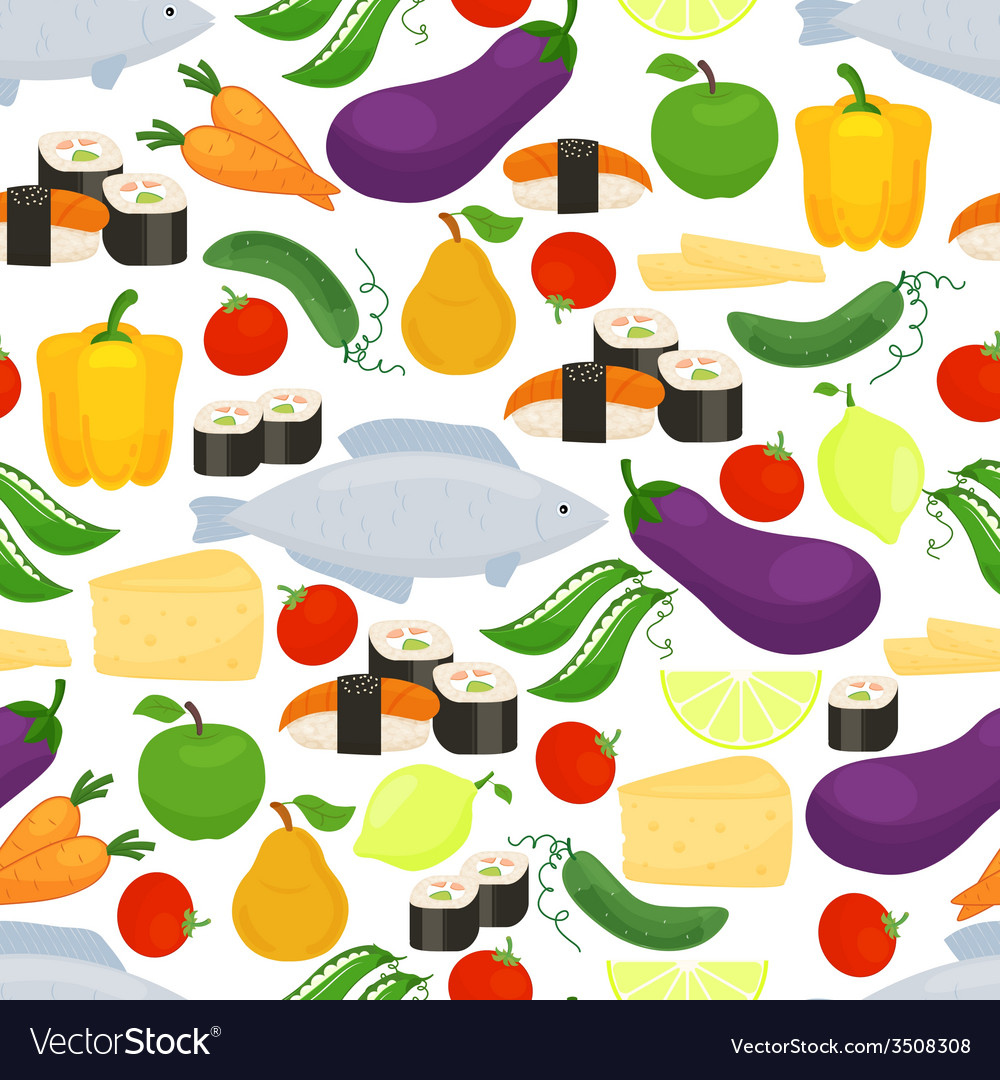 Healthy food seamless background pattern vector | Price: 1 Credit (USD $1)