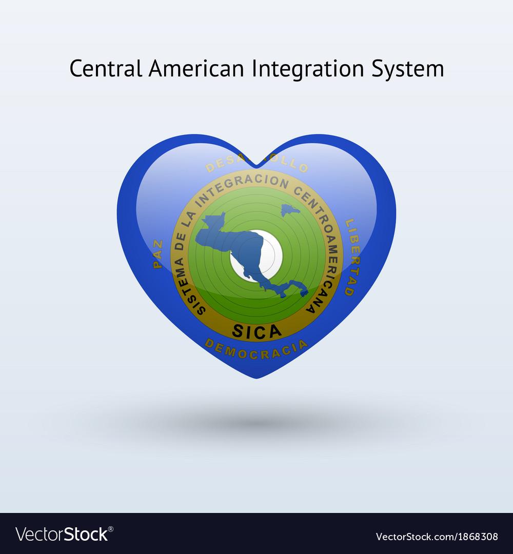 Love central american integration system symbol vector | Price: 1 Credit (USD $1)