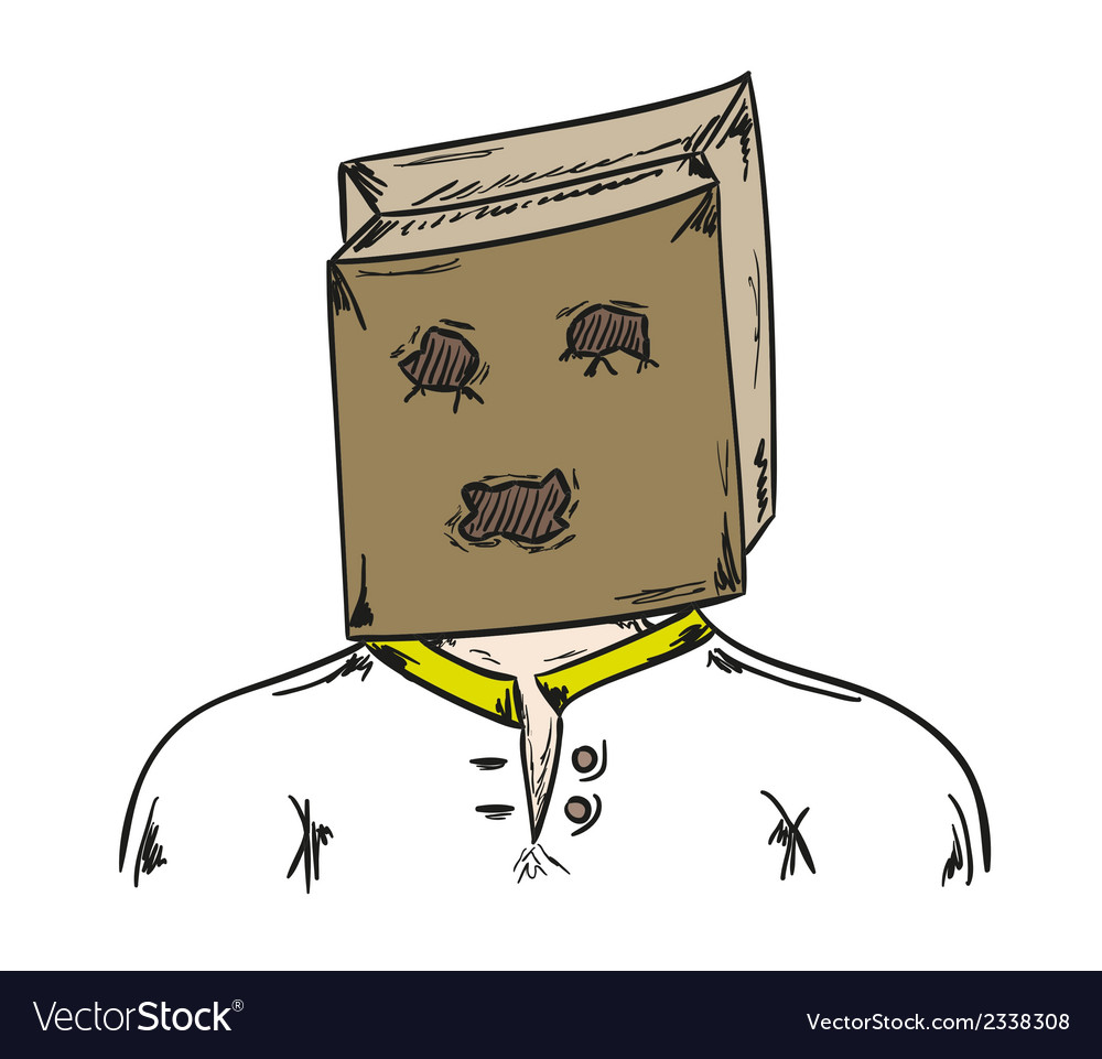 Man with paper bag on his head vector | Price: 1 Credit (USD $1)