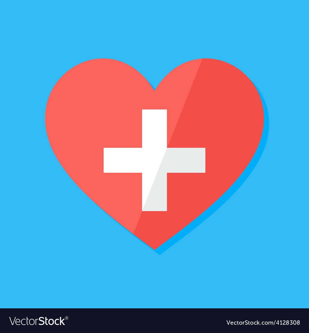 Medical heart flat stylized sign vector | Price: 1 Credit (USD $1)