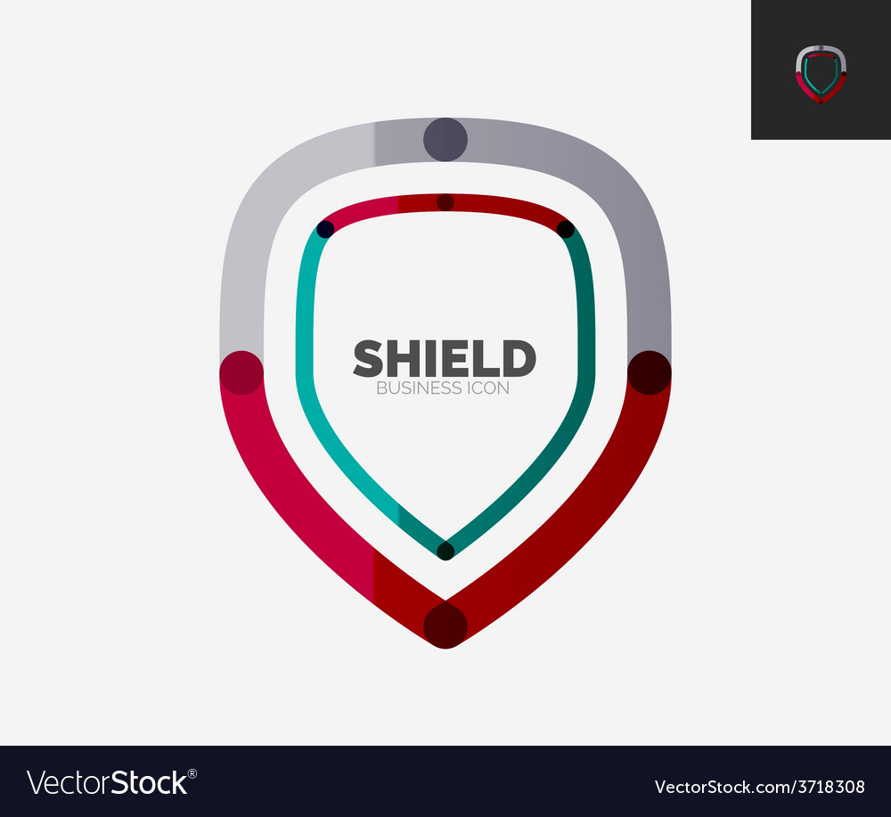 Minimal line design logo shield icon vector | Price: 1 Credit (USD $1)