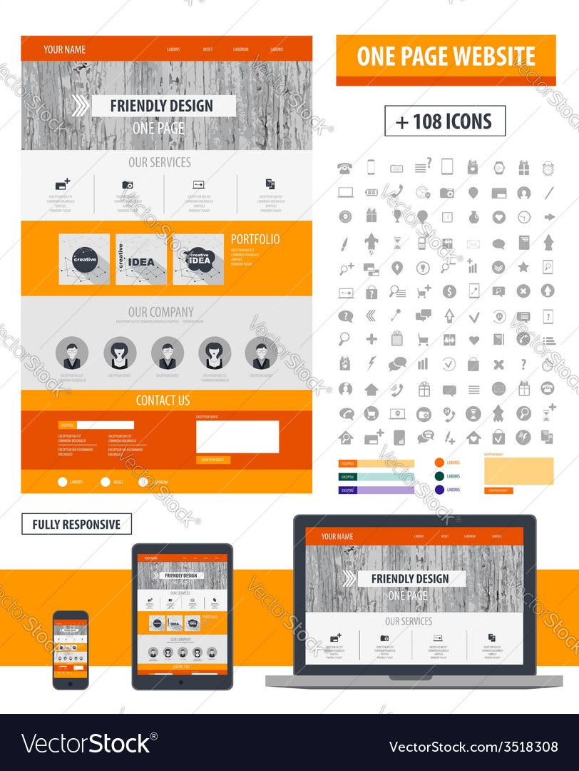 One page website template vector | Price: 1 Credit (USD $1)