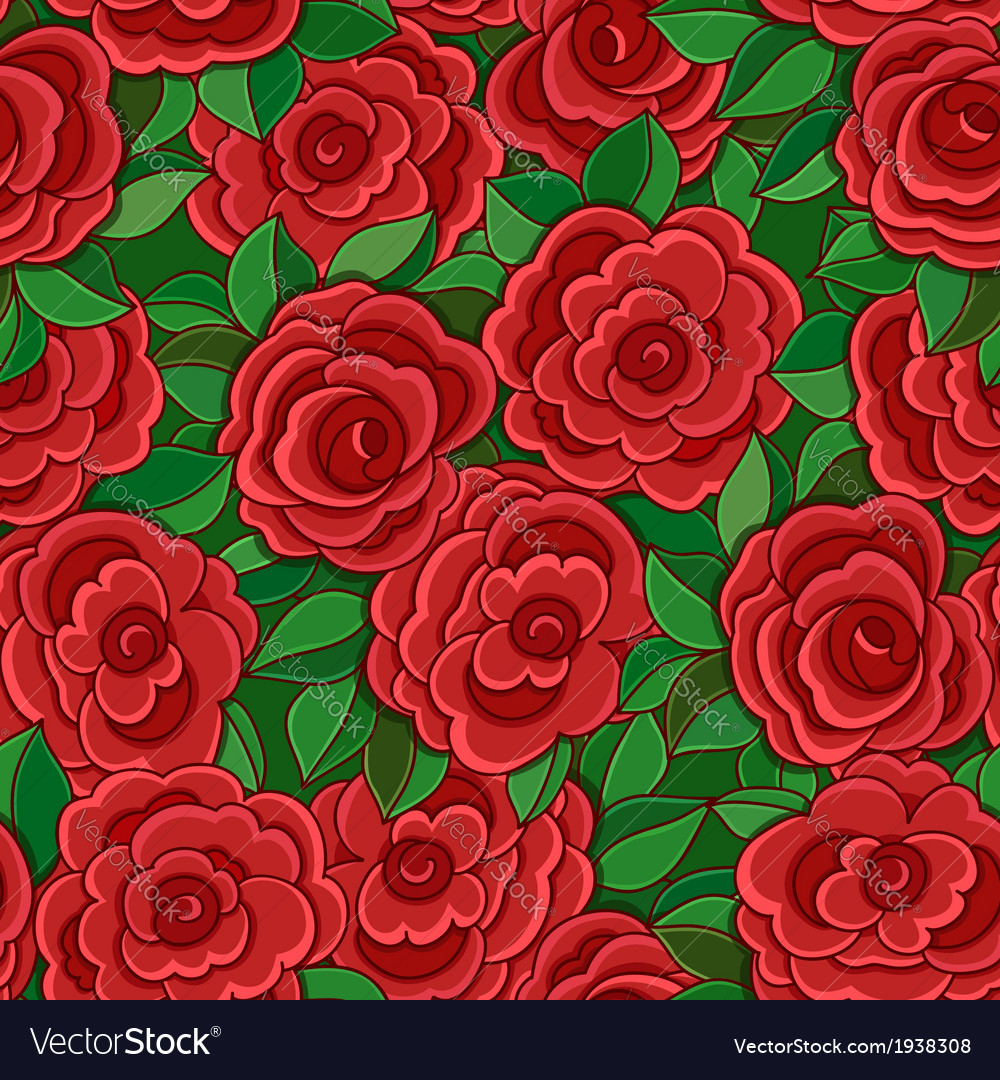 Seamless background with red roses and leaves vector | Price: 1 Credit (USD $1)