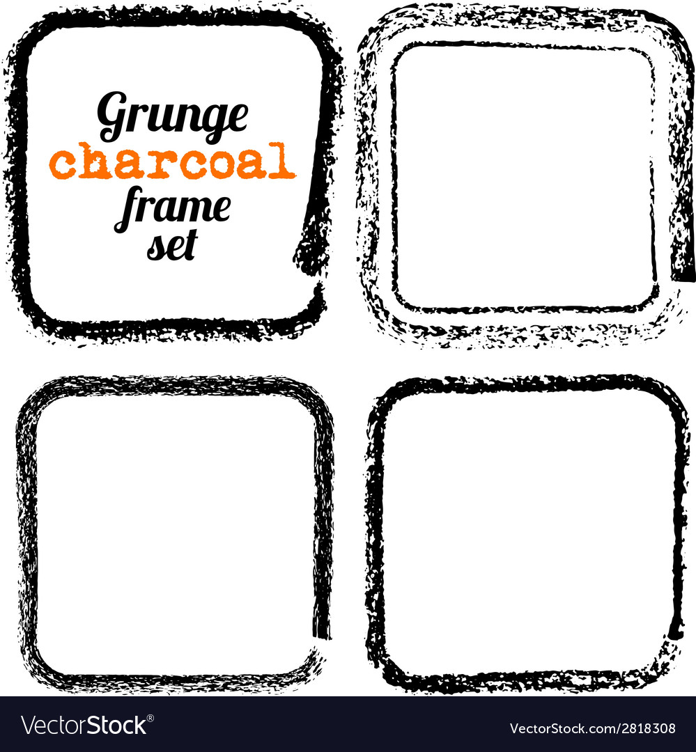 Set of four grunge square charcoal frames vector | Price: 1 Credit (USD $1)
