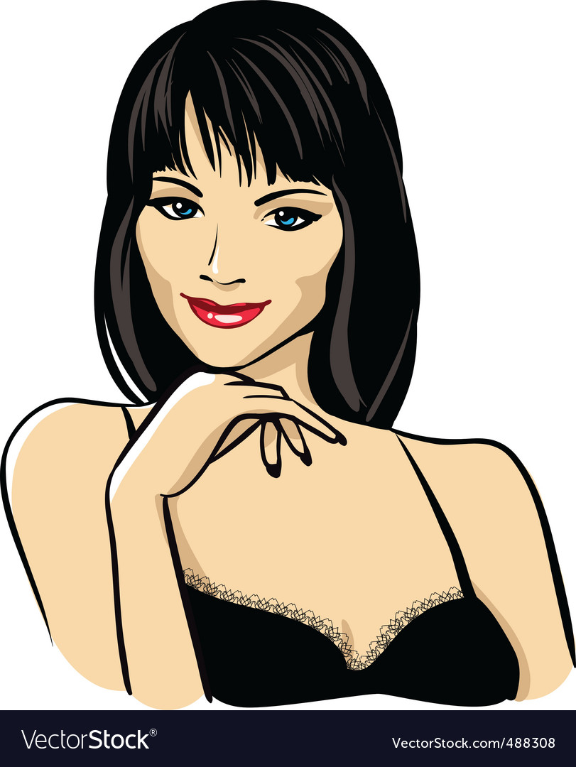 Woman's face with red lips vector | Price: 3 Credit (USD $3)