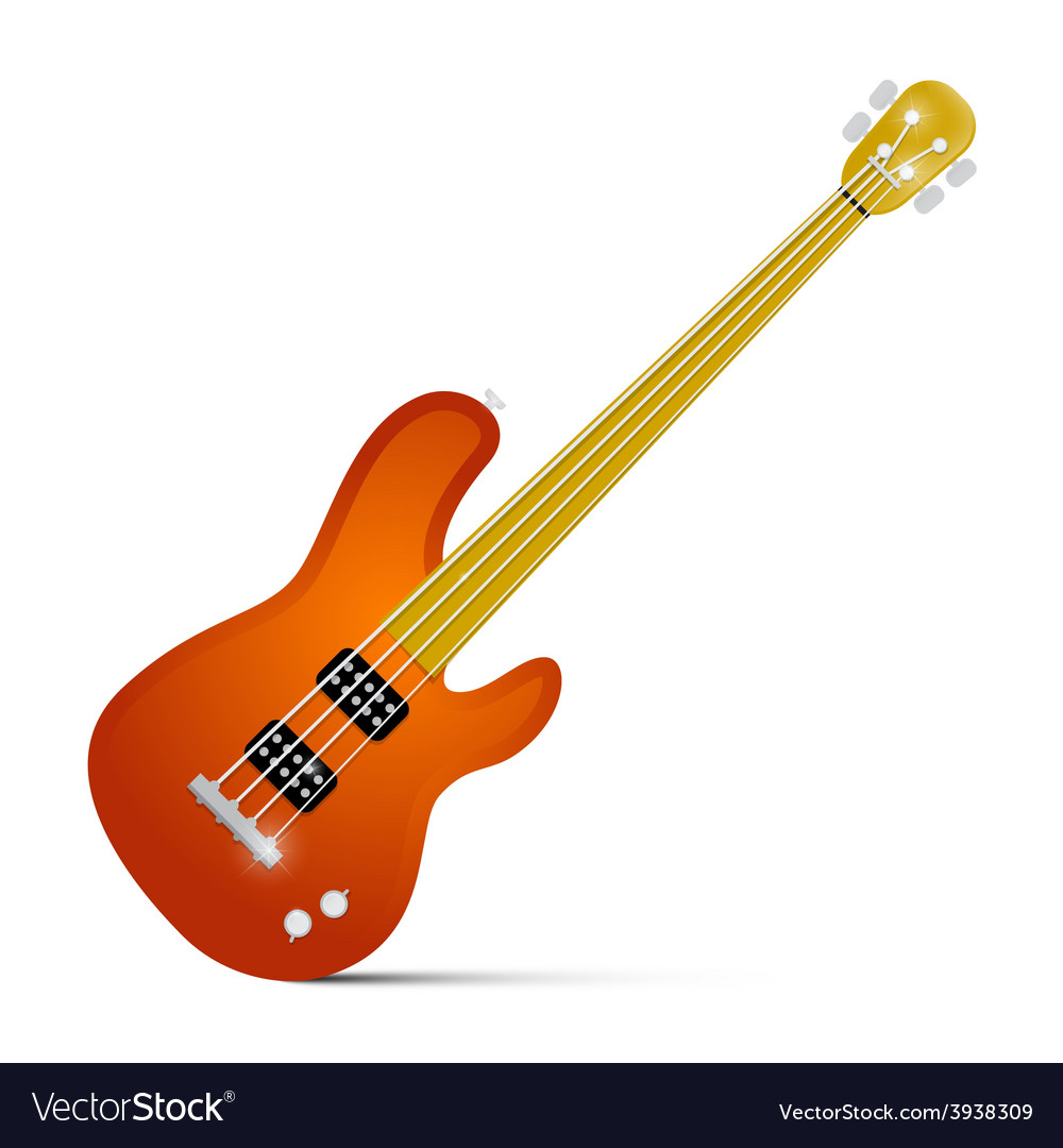 Abstract orange fretless bass guitar isolated on vector | Price: 1 Credit (USD $1)